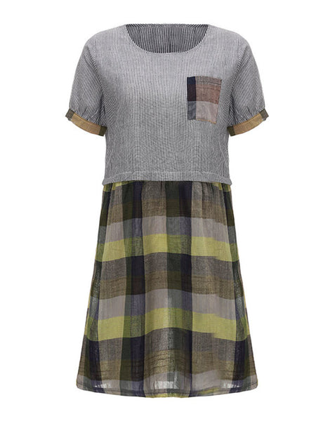 Vintage Plaid Pocket Short Sleeve Vintage Dress For Women