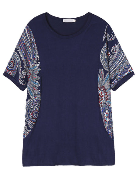 Women Short Sleeve Floral Printing Patchwork Cotton Loose T-shirt