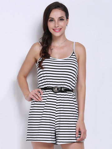 Women Strap Backless Striped Print Romper