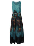 Women Sleeveless O Neck Peacock Printed Maxi Dress Bohemian Summer Beach Dress