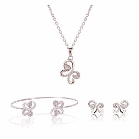 Butterfly Crystal Jewelry Necklace Earrings Suit for Women