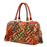 Ladies Genuine Leather Handbags Shoulder Bags Random Color Weave Bag