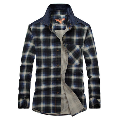Casual Loose Cotton Plaid Plus Size Long Sleeve Dress Shirt For Men
