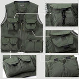 Jeep Rich Multi Pockets Sleeveless Mesh Vest Jacket Multi Functional Outdoor Photography Fishing Qui