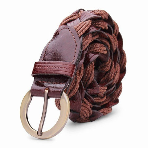 Women Casual Belt Bonded Leather Weaving Pattren Pin Buckle Strip