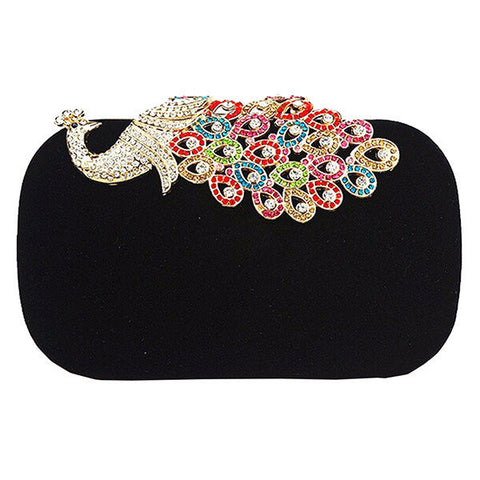 Fashion Women Peacock Pattern Diamond Evening Bag