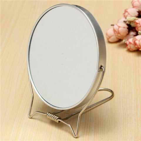 Double Sided Make Up Vanity Mirror Magnifying Shaving Travel Silver