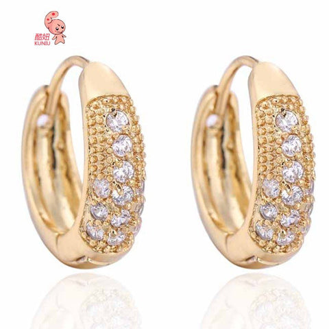 18K Gold Plated Crystal Hoop Earrings