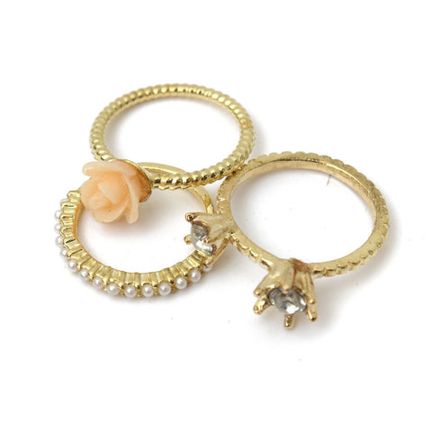 3Pcs Crystal Pearl Rose Flower Ring Set