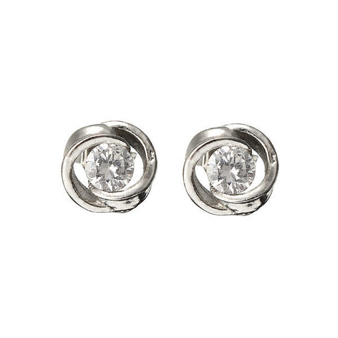 1Pair Silver Plated Crystal Shiny Ear Stud