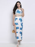 Sexy Women Floral Halter Backless Slit Sleeveless Beach Two Pieces Dress