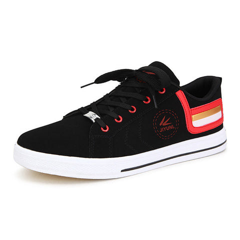 Men Color Matching Casual Lace Up Flat Sneakers