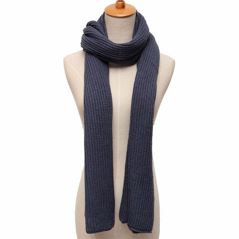 Men Women Pure Color Knitted Scarf Soft Thickness Woolen Scarf Winter Warm Long Scarves