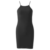 Women Casual Spaghetti Strap Bodycon O-neck Solid Color Package Hips Dress