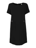 Vintage Cotton Pocket Pure Color Short Sleeve Loose Dress For Women