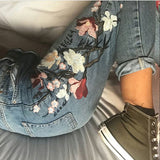 Embroidery Flowers Retro High Waist Loose Pull Edge Straight Jeans