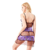 Women Sexy See Through Heart Printing Babydoll Satin Mesh Temptation Nightdress