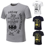 Men's Summer COAST Letter Printing Round Neck Cotton Short-sleeved T-shirt Korean Style Tees Tops