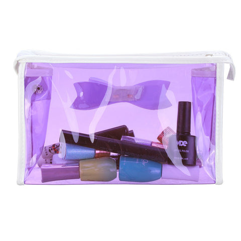 Transparent PVC Makeup Bag Bow Tie Travel Cosmetic Handbag Bag Organizer