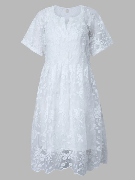 Lace Embroidery Short Sleeve White Vintage Two Pieces Dress For Women