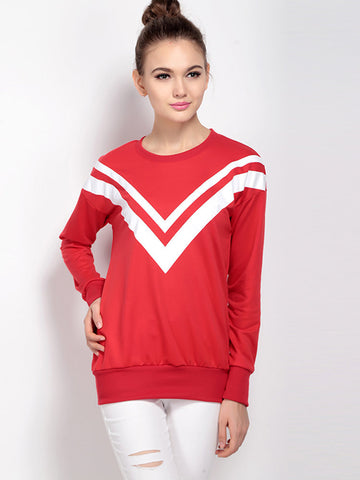 Sailor Collar Casual Long Sleeve Red Sweatshirt For Women