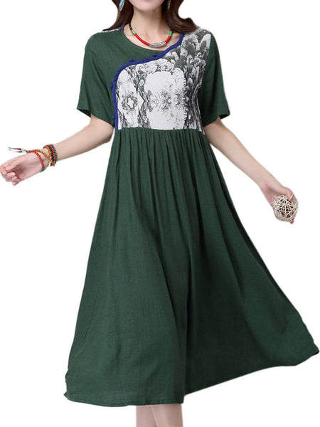 Women Short Sleeve High Waist Retro Floral Patchwork Vintage Dress