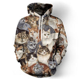 Men's 3D Animal Cat Printed Front Pocket Drawstring Hooded Couple's Loose Fit Hoodies