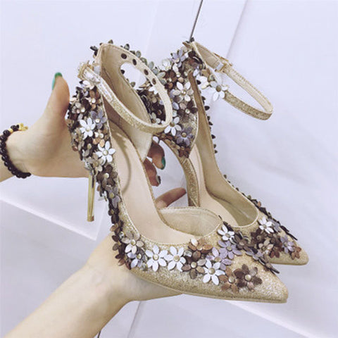 Little Flower Doceration Buckle High Heel European Style Pumps