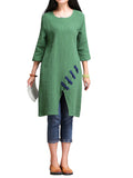 Women 3/4 Sleeve O Neck Button Pure Color Pocket Vintage Dress