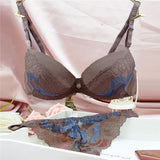 Women Sexy Adjustable Embroidery Bra Sets Lace Temptation Thongs Push Up Underwear Sets