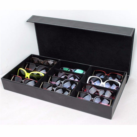 12 Grids Black Color Artificial Leather Sunglass Glassess Display Storage Box Tray - shechoic.com