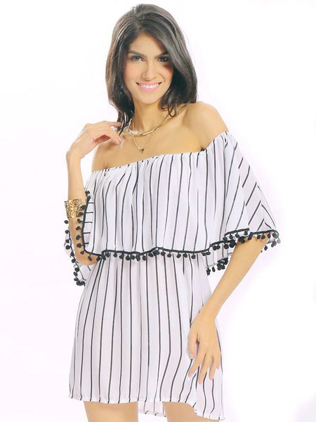 Women Sexy Off Shoulder Stripe Print Layered Backless Loose Half Sleeve Mini Dress