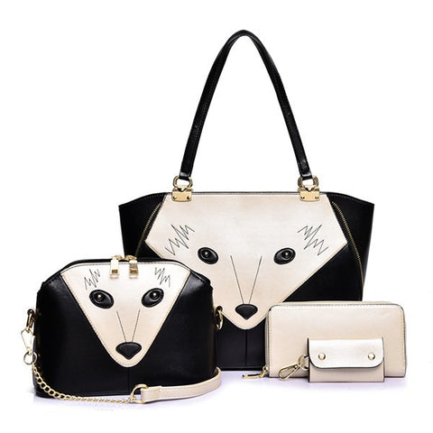 New Stylish Patchwork Fox Face Handbag