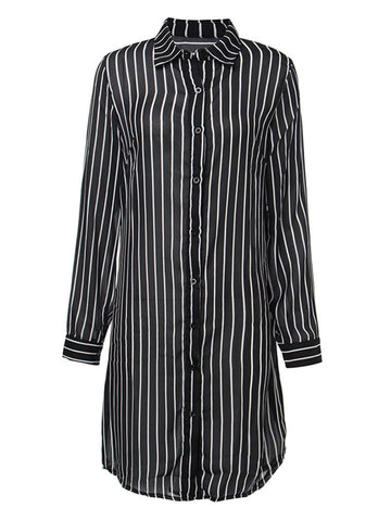 Women Long Sleeve Stripe Button Down Stripe High Low Chiffon Shirt Dress