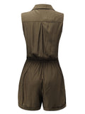 Solid Sleeveless Pocket Drawstring Lapel Jumpsuit Shorts For Women