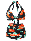 Women Sexy Halter Printing Bikini Set High Waist Deep V Swimsuit