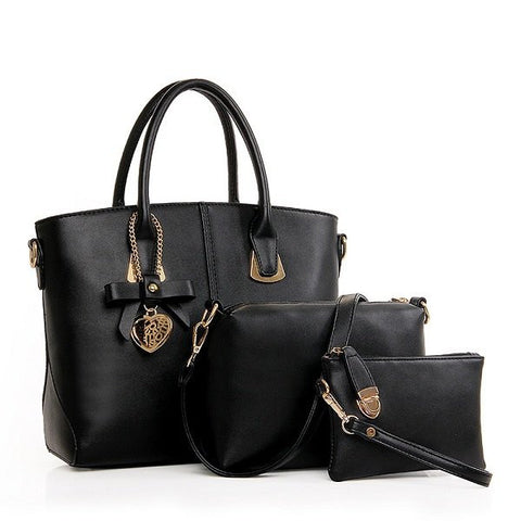 3 PCS Women Elegant Casual PU Leather Handbag Leisure Crossbody Bag - shechoic.com