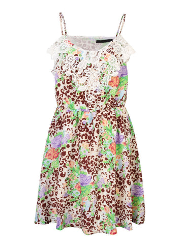 Floral Printing Lace Stitching Straps Mini Dress For Women