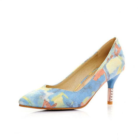 Candy Color Pointed Toe Colorful Slip On High Heel Office Pumps