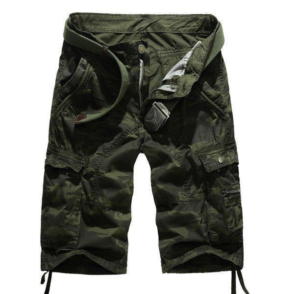 Summer Mens Cotton Camouflage Shorts Big Pockets Army Style Cargo Shorts