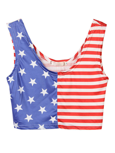 Women Sleeveless Star Stripe Printed Patchwork Sport Cropped Tank Top Sexy Vest