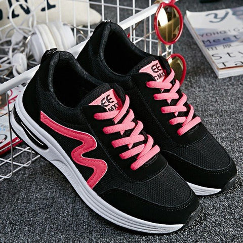 Black Color Match Mesh Breathable Lace Up Platform Casual Sport Shoes