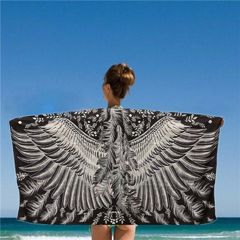150*80CM Women Black And White Eagle Phoenix Wings Printed Scarves Beach Shawls Mats - shechoic.com