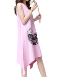 Women Sleeveless O Neck Wind Printed Vintage Dress