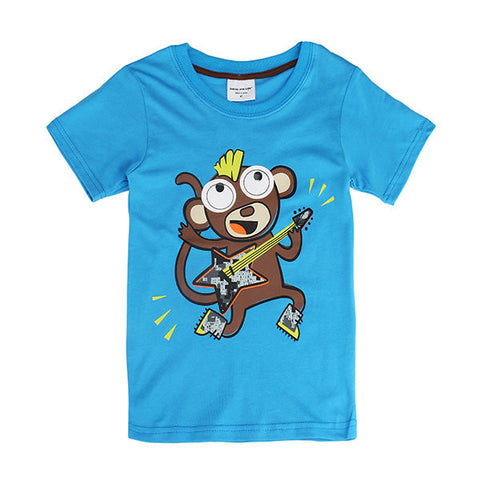 Children Boy Monkey Pure Cotton Short Sleeve T-shirt Top