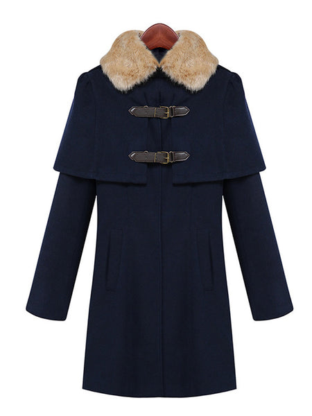 Casual Long Sleeve Fur Collar Buttons Cloak Winter Coat