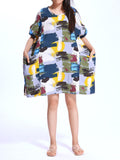 Casual Women Batwing Sleeve Graffiti Printed Pocket Party Mini Dress