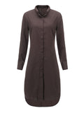 Casual Women Solid Button Stand Collar High Low Dress