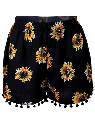 Women High Waist Floral Printed Shorts Casual Beach Shorts