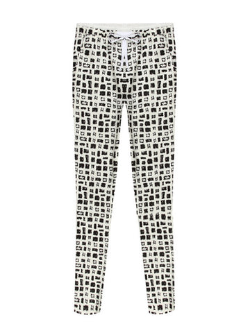Women Black And White Houndstooth Plaid Stretch Pant
